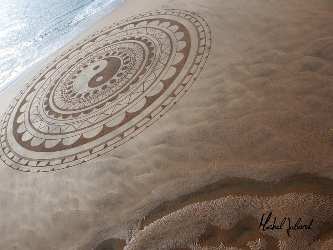 Fresque Beach art Yin et Yang, Michel Jobard