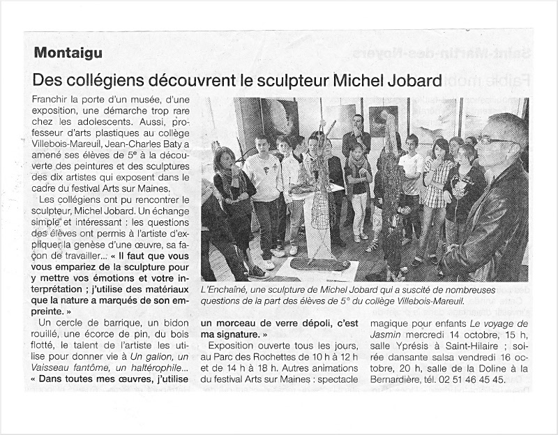 Article journal Michel Jobard, artiste land art