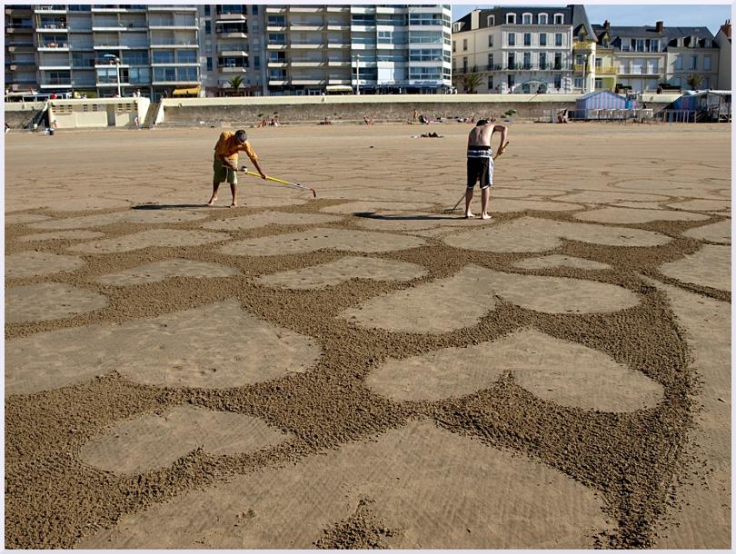 Fresque Beach art Avec le coeur, Michel Jobard