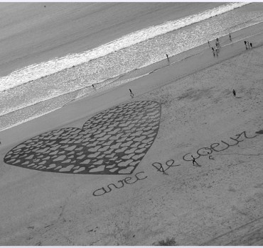 Fresque Beach art Avec le coeur, Michel Jobard