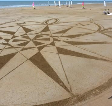 Fresque Beach art la rose d'Aleph, Michel Jobard