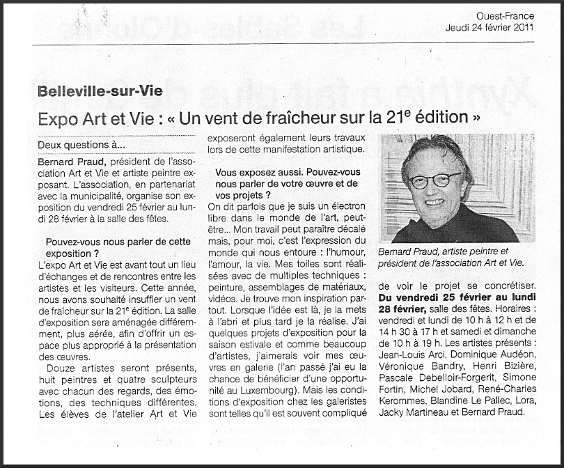 Article Ouest france Michel Jobard