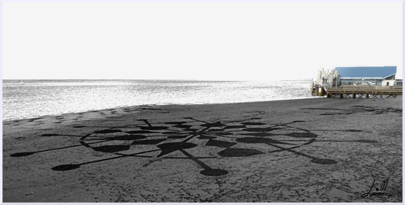 Fresque Beach art Flocon de neige, Michel Jobard