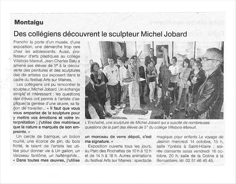 Article journal Michel Jobard, artiste land art