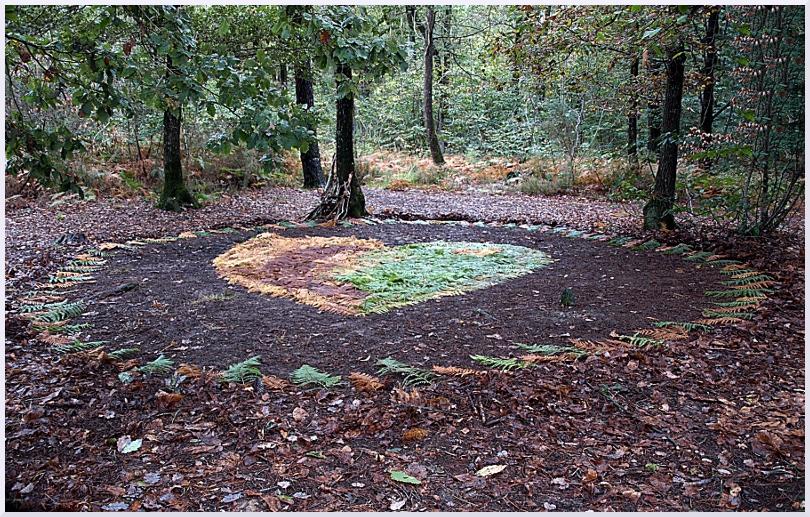 Land art Coeur de fougères, Michel Jobard